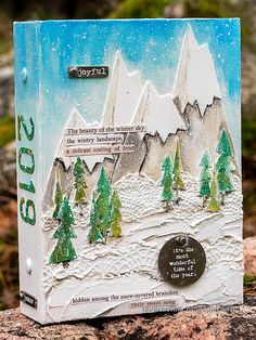 Layers of ink - Snowy Mountains December Daily Tutorial by Anna-Karin Evaldsson. Peaceful mountain scene created with dies by Tim Holtz, acrylic paint and texture paste. Christmas Journal, Christmas Tag, Christmas Crafts, Tim Holtz Dies, Winter Sky, Crochet Borders, Distressed Painting, Collaborative Art, Christmas Stickers