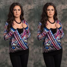 Mayan Wrap Blouse Multi color wrap blouse    Chic lightweight so fabulous on.  100%rayon.  Have in several sizes.  Message me for your own listing Lewboutiquetwo Tops Blouses