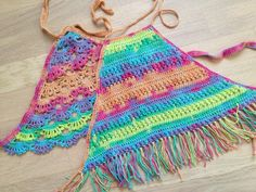 Items similar to Set of two rainbow crochet top/ Crochet Toddler Crop Top/ Baby Crochet halter top/ Crochet toddler bohemian top/ Girl crochet festival top on Etsy Crochet Toddler, Crochet For Kids, Crochet Baby, Knit Crochet, Baby Bikini, Top Boho, Loom Scarf, Crochet Mittens Free Pattern, Baby Girl Patterns