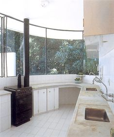kitchen of the Casa das Canoas-- Location: Rio de Janeiro, Brazil…