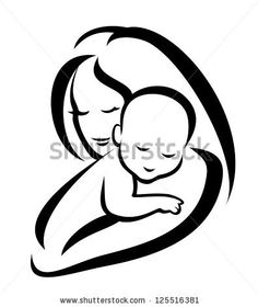 mother and baby silhouette, sketch in black lines. raster version by baldyrgan, via ShutterStock