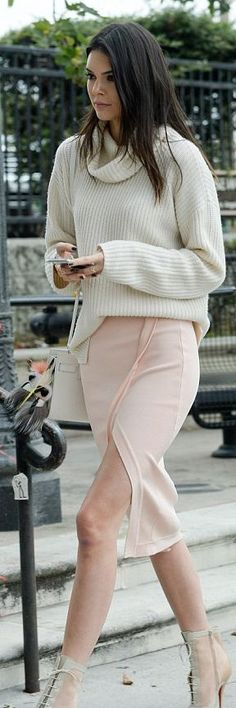 Kendall Jenner White Sweater Nude Wrap Skirt