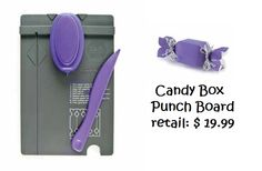 CANDY BOX PUNCH BOARD...make your own gift boxes...think of the money you can save. View items in our FB album...also has link to video showing how easy it is to use this great new tool...we are taking pre-orders now...view more details here:  https://www.facebook.com/CrazyAnniesStitchin/photos_albums