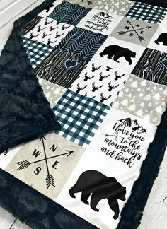 Love You to the Mountains and Back Minky Blanket - Faux Patch - Designer Minky - Navy Quilting Projects, Sewing Projects, Quilting 101, Boy Blankets, Minky Blanket, Rag Quilt, Baby Boy Nurseries, Baby Sewing, Baby Quilts