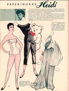 Paperinukke Heidi / Paper doll, in Hopeapeili magazine