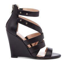 Strappy Black Wedge Shoe.