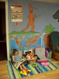 A cozy reading corner in the homeschooling room.