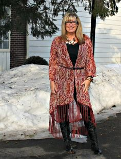 Target Fringe duster, lace up boots with leather leggings #targetfashion #fashionover50 #40plusstyle #ootd