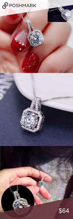 Holiday Sparkle Solitaire Necklace 1ct Stunning necklace Solitaire surrounded by pave high quality cubic ZIRCONIA  Silver Electroplated The shine factor is at the highest level. Super pretty   New without tags 3 Available at this size Jewelry Necklaces