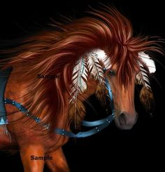 Indian War Pony   American Indian Chestnut War Pony Dressed in Feathers.