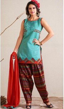 PanjabiTurquoise Jacquard,Silk Straight Cut Readymade Patiyala Suit… #Heenastyle #Punjabisuit #Salwarsuit, #SalwarKameez, #Dreses, #Patiyala