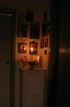 hang the pictures on the wall so there's more space on the actual altar itself