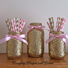 SALE Pink and Gold Mason Jar Set, Pink and Gold Baby Shower, Pink and Gold First Birthday, Birthday Idee Baby Shower, Girl Shower, Baby Shower Themes, Baby Shower Decorations, Shower Ideas, Baby Shower Pink, Diy Baby Shower Centerpieces, Gold First Birthday, Golden Birthday