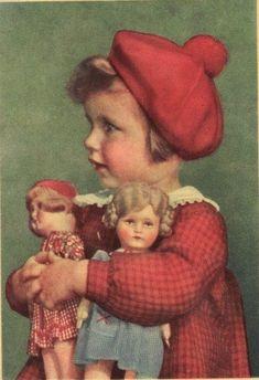 vintage little girls with dolls Vintage Children Photos, Images Vintage, Vintage Pictures, Old Images, Old Dolls, Vintage Greeting Cards, Vintage Dolls, Vintage Postcards, Vintage Prints