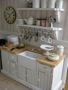 Gorgeous dollhouse kitchen, wood counter, mini s hooks, open shelves