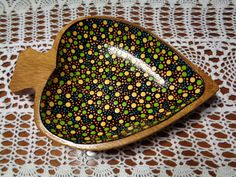 Dot Painted Wooden Bowl / Jewelry Dish / by NatureParadise on Etsy, $89.99
