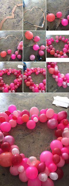 Riesenherz aus Luftballons - DIY Dekoidee für den Valentinstag