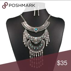 Boho Crystal Set Necklace & Earrings NW Brand NW Adjustable Chain Set includes Necklace & Earrings  Hypoallergenic Nickel Free zdazzled Jewelry Necklaces