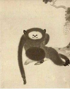 猿猴図 狩野山雪   狩野派の可愛いお猿さん。