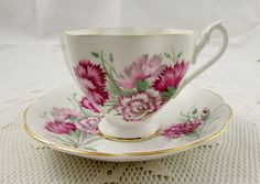 Queen Anne Carnation Flower Tea Cup and Saucer, Pink Flowers, Floral Tea Cup Vintage Bone China