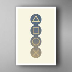 PlayStation ispirata. Pulsanti. Poster di di JINXprints su Etsy