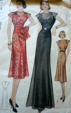 LOVELY VTG 1930s EVENING DRESS Sewing Pattern 18/36