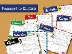 Passport to English - Worksheets to help learn about the landmarks, food, maps, fun facts and flags of the countries and continents of the world. http://www.teacherspayteachers.com/Product/Passport-to-English-Learn-about-the-Continents-1278534