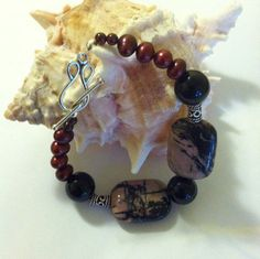 Rose Maroon and Black Modern Abstract Bracelet by PamsPawsJewelry