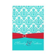 red and turquoise invite... Wedding ideas for brides, grooms, parents & planners ... https://itunes.apple.com/us/app/the-gold-wedding-planner/id498112599?ls=1=8 … plus how to organise an entire wedding ♥ The Gold Wedding Planner iPhone App ♥ http://pinterest.com/groomsandbrides/boards/