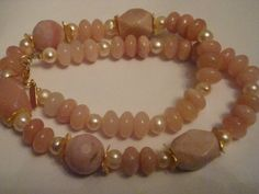 GENUINE PINK OPAL,  PEARLS , RHODOCHROSITE NECKLACE  NATURAL MULTI   GEMSTONE NECKLACE FROM GEMROCKAUCTIONS.COM