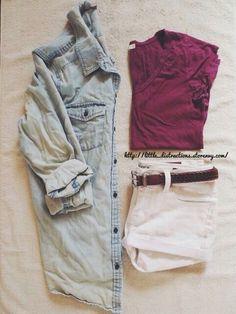 Maroon top white shorts Jean shirt