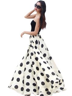 Charming Chiffon Polka Dot Pattern Long Maxi Skirts Black&White - super cute and so pretty