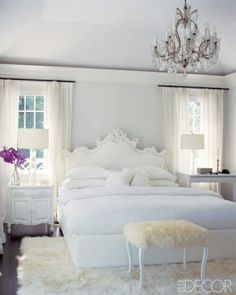 Feminine, white bedroom.