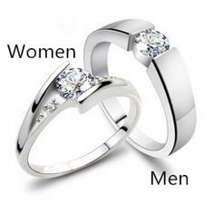 His and Her Promise Ring Set - Matching Promise Rings Silver Silver with man-made Diamond