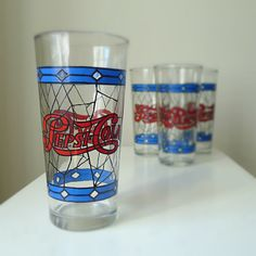 Vintage Pepsi glasses.. Had these, we got new ones every year at the county fair along with the pitcher