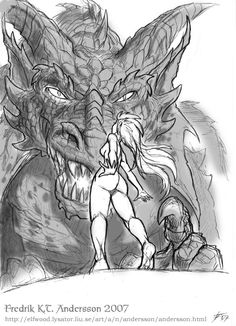 SciFi and Fantasy Art Dragon and Virgin by Fredrik K T Andersson