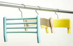Broken chairs can be repurposed into hangers.