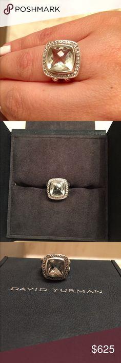David Yurman Ring Prasiolite with Diamonds - 11 mm Size 6  Great condition!  Box not included David Yurman Jewelry Rings
