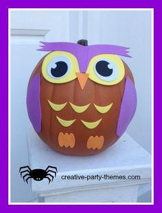 owl pumpkin craft kit. no carve pumpkin easy for kids