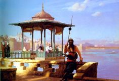 Jean-Leon Gerome - Harem in the Kiosk, The Guardian of the Seraglio ~ site i got this from said this was a Gerome painting but it doesn't look like Gerome's work.