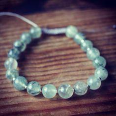 New Prehnite Wrist Mala!  http://theeasiersofterway.com  #mala #wristmala #malabeads #bracelet #prehnite #jewelry #spirituality