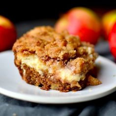 Moist apple cake layered with luscious cream cheese and a sweet streusel topping!