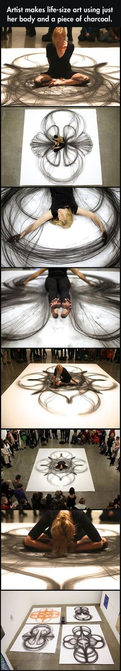 Draw Charcoal Mal - the human Spirograph which an artist used her own body with charcoal to create interesting shapes - Share with your friends. Art Photography, Performance Art, Drawings, Amazing Art, Art, Creative Art, Street Art, Beautiful Art, Love Art