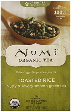 Numi Organic Tea Toasted Rice Green Full Leaf Green Tea in Teabags 18Count Box Pack of 6 >>> Click image for more details.