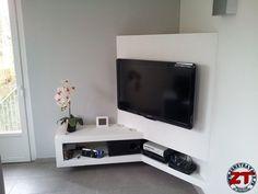 Tuto Cr ation d 39 un meuble TV en placo Tuto C Corner Tv Table, Corner Tv Cabinets, Corner Tv Unit, Corner Furniture, Tv Furniture, Furniture Design, Tv Wall Design, Tv Unit Design, Tv Wanddekor