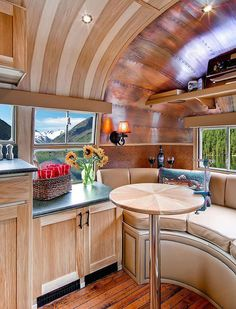 Amazing vintage Airstream remodel, idea for bus interior