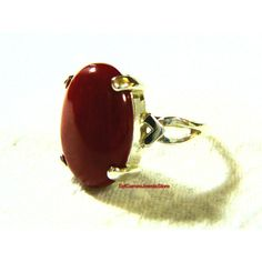 Ring Red Coral Cab Stone, Sterling Silver Prong Setting, Collectible... ($27) ❤ liked on Polyvore featuring jewelry and rings