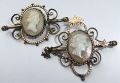 VICTORIAN GOLD FILLED CAMEO BROOCH PIN PAIR