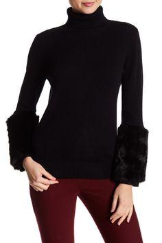 14d132a4a4 Fall 2018 sweaters · Genuine Rabbit Fur Trimmed Cuff Cashmere Sweater  Catherine Malandrino