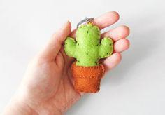Felt cactus keychain stuffed succulent plush by InspirationalGecko